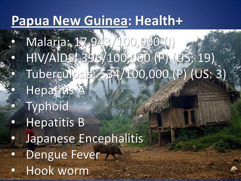Papua New Guinea: Health+ Malaria: 17,943/100,000 (I) Malaria: 17,943/100,000 (I) HIV/AIDS: 396/100,000 (P) (US: 19) HIV/AIDS: 396/100,000 (P) (US: 19) Tuberculosis: 534/100,000 (P) (US: 3) Tuberculosis: 534/100,000 (P) (US: 3) Hepatitis A Hepatitis A Typhoid Typhoid Hepatitis B Hepatitis B Japanese Encephalitis Japanese Encephalitis Dengue Fever Dengue Fever Hook worm Hook worm