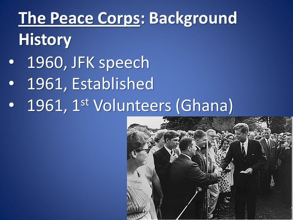 The Peace Corps: Snapshot 8,000 Currently serving 8,000 Currently serving 210,000 Have served 210,000 Have served
