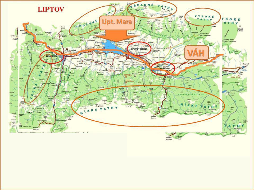 Rozloha: viac ako 2000 km 2 Economic and cultural centres: Ružomberok – Low Liptov Liptovský Mikuláš – Middle Liptov Liptovský Hrádok – Upper Liptov A