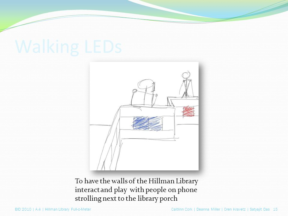 Caitlinn Cork | Deanna Miller | Oren Kravetz | Satyajit Das 15BID 2010 | A.4 | Hillman Library Full-o-Meter Walking LEDs To have the walls of the Hillman Library interact and play with people on phone strolling next to the library porch