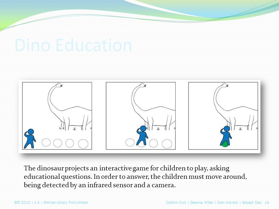 Caitlinn Cork | Deanna Miller | Oren Kravetz | Satyajit Das 19BID 2010 | A.4 | Hillman Library Full-o-Meter Dino Education The dinosaur projects an interactive game for children to play, asking educational questions.