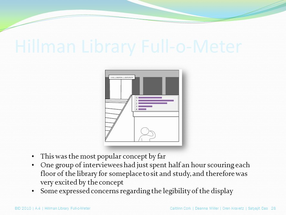 Caitlinn Cork | Deanna Miller | Oren Kravetz | Satyajit Das 28BID 2010 | A.4 | Hillman Library Full-o-Meter Hillman Library Full-o-Meter This was the most popular concept by far One group of interviewees had just spent half an hour scouring each floor of the library for someplace to sit and study, and therefore was very excited by the concept Some expressed concerns regarding the legibility of the display