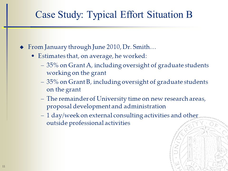 11 Case Study: Typical Effort Situation B From January through June 2010, Dr.
