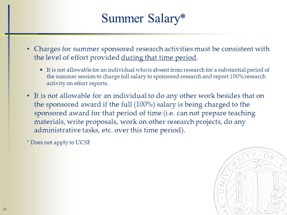 20 Charges for summer sponsored research activities must be consistent with the level of effort provided during that time period.