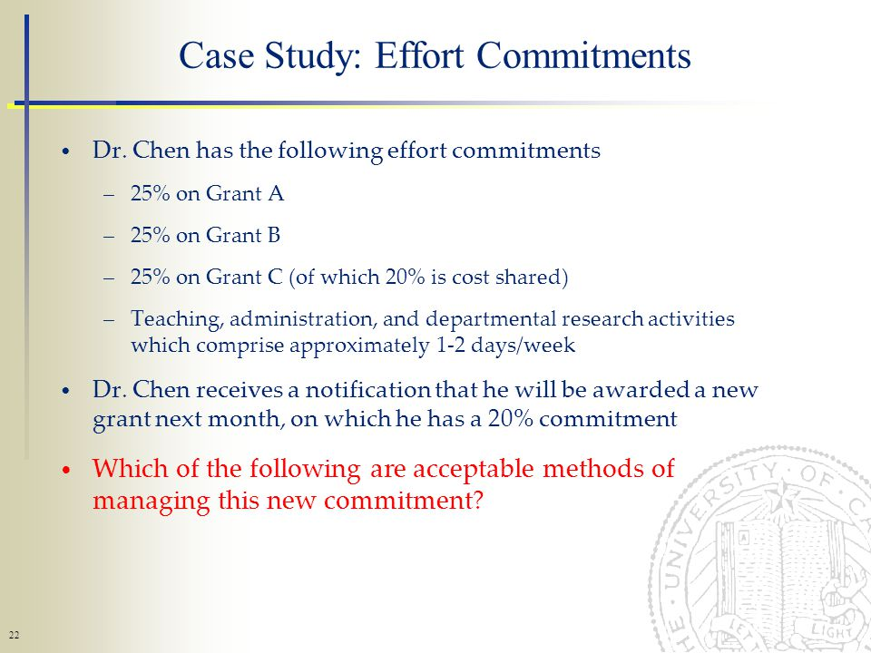 22 Case Study: Effort Commitments Dr.