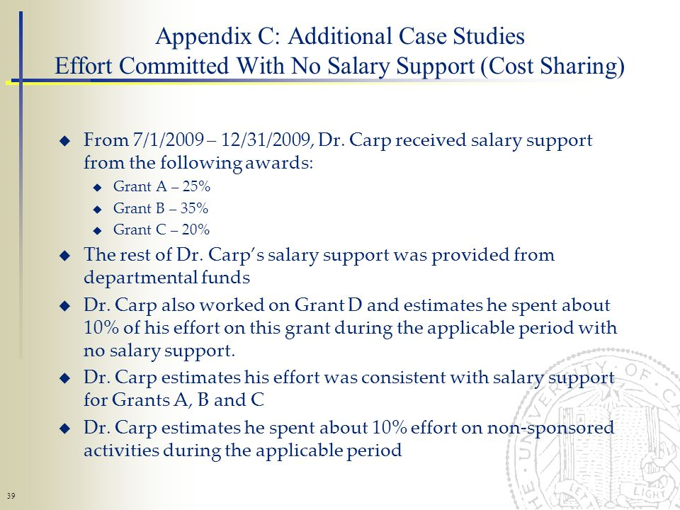 39 Appendix C: Additional Case Studies Effort Committed With No Salary Support (Cost Sharing) From 7/1/2009 – 12/31/2009, Dr.