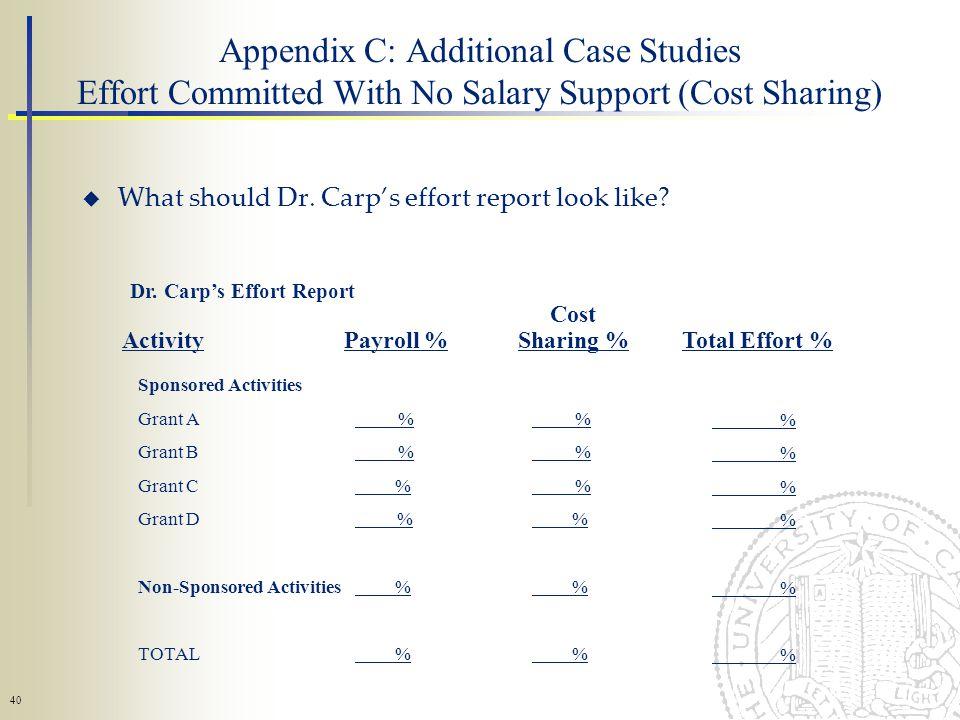 40 What should Dr. Carps effort report look like.