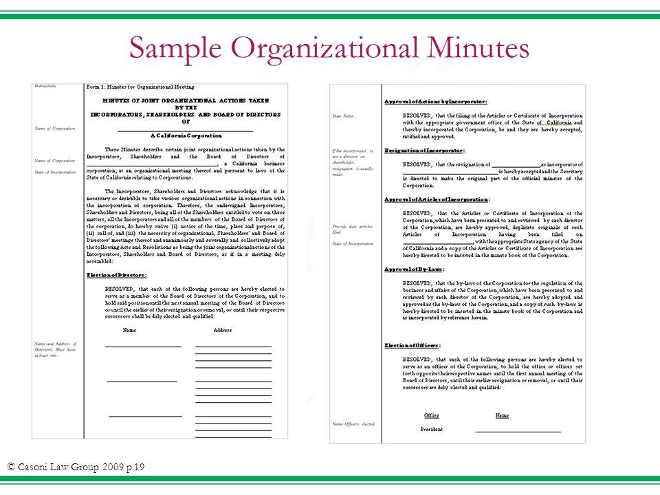 Sample Organizational Minutes © Casoni Law Group 2009 p 19