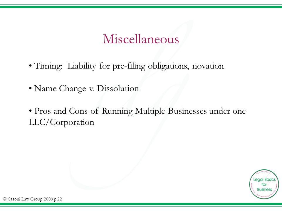 Miscellaneous Timing: Liability for pre-filing obligations, novation Name Change v.