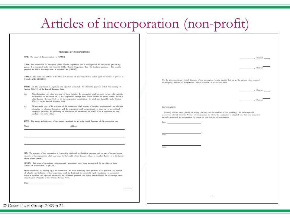 Articles of incorporation (non-profit) © Casoni Law Group 2009 p 24