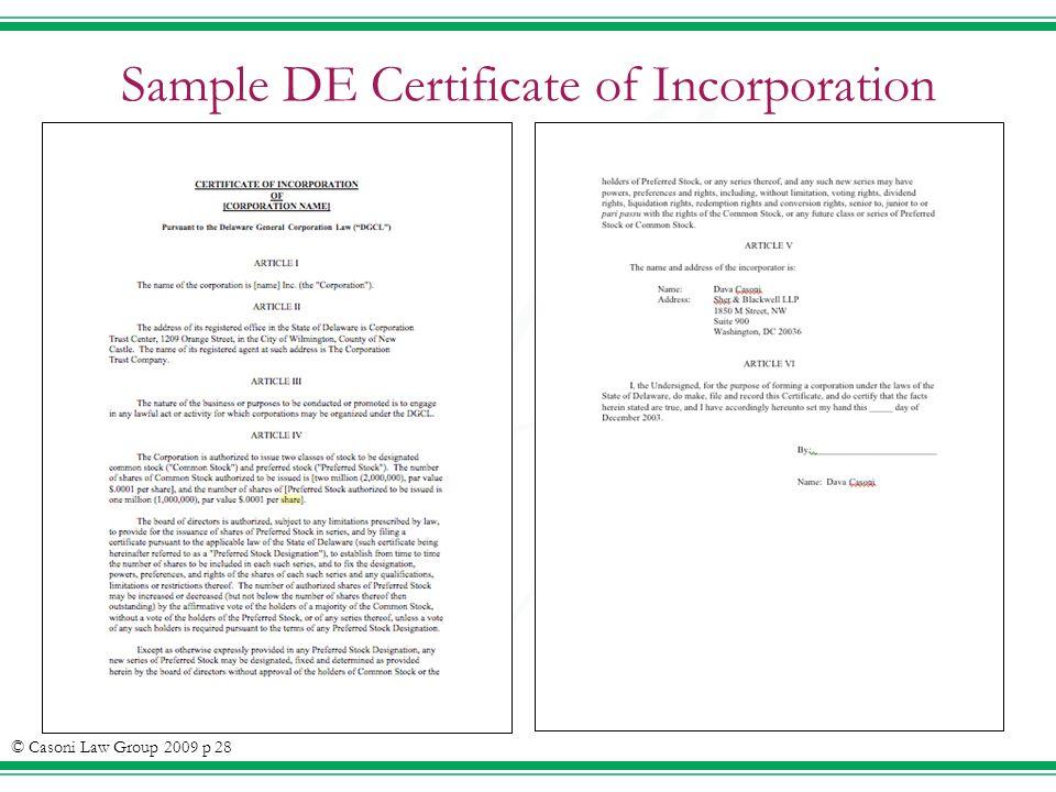 Sample DE Certificate of Incorporation © Casoni Law Group 2009 p 28