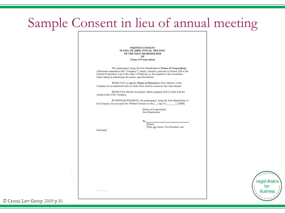 Sample Consent in lieu of annual meeting © Casoni Law Group 2009 p 30