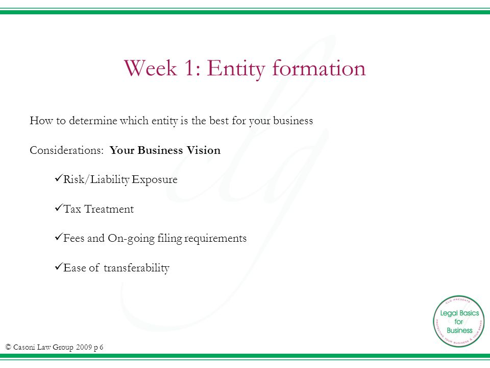 Week 1: Entity formation How to determine which entity is the best for your business Considerations: Your Business Vision Risk/Liability Exposure Tax Treatment Fees and On-going filing requirements Ease of transferability © Casoni Law Group 2009 p 6