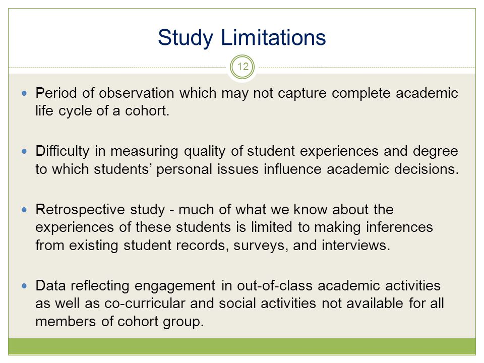 Study Limitations Period of observation which may not capture complete academic life cycle of a cohort.