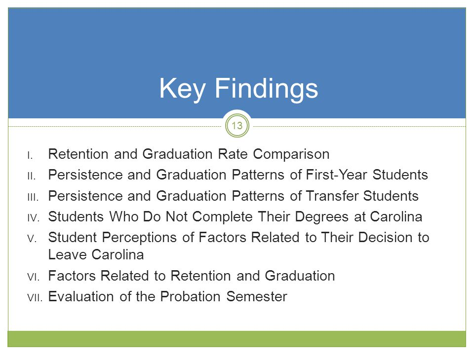 I. Retention and Graduation Rate Comparison II.
