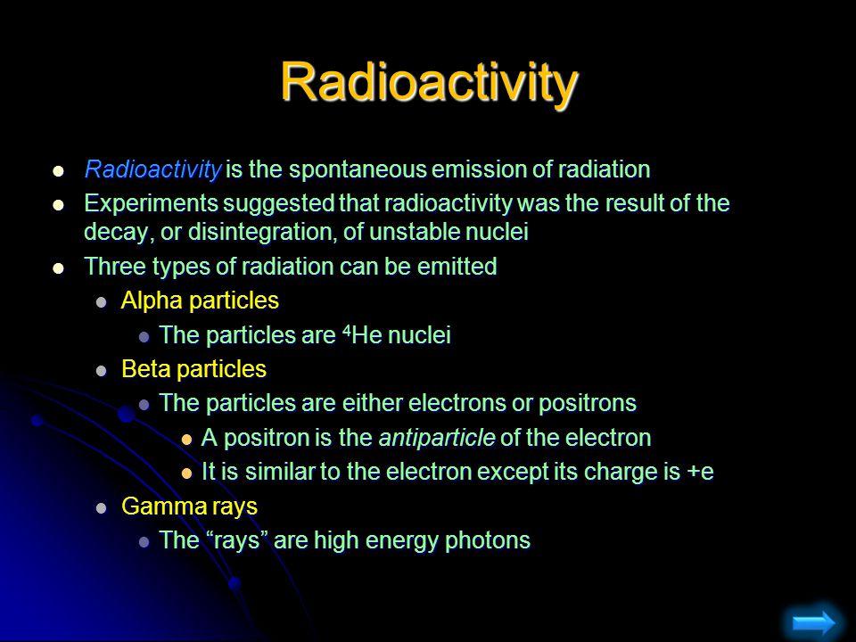Radioactivity Radioactivity is the spontaneous emission of radiation Radioactivity is the spontaneous emission of radiation Experiments suggested that