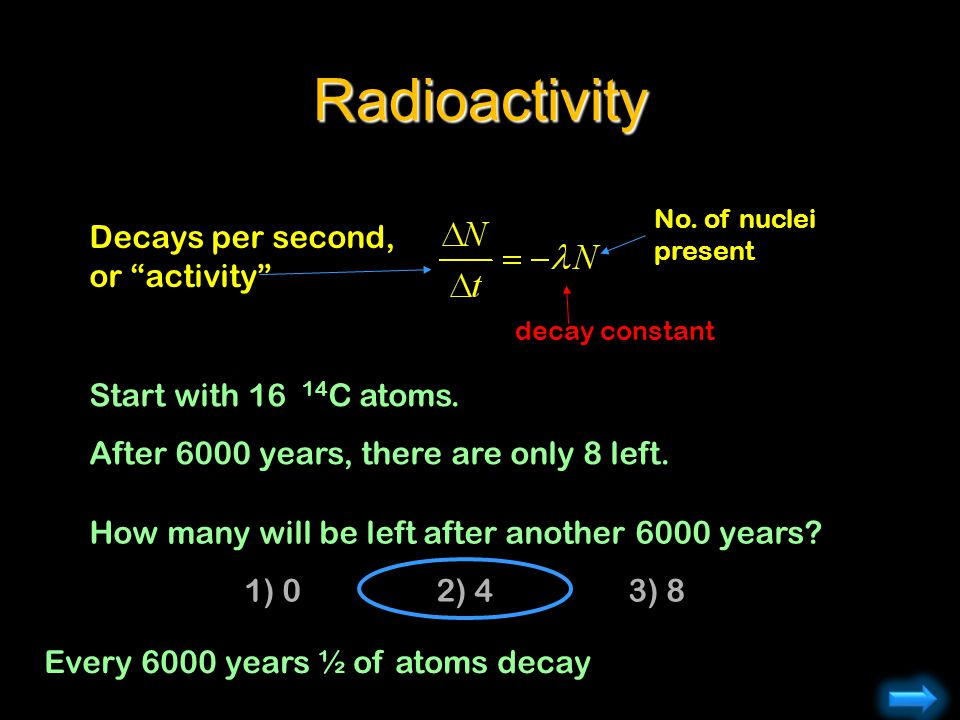 Radioactivity No. of nuclei present decay constant Decays per second, or activity Start with 16 14 C atoms. After 6000 years, there are only 8 left. H