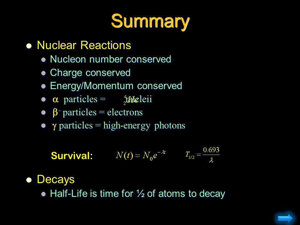 Summary Nuclear Reactions Nuclear Reactions Nucleon number conserved Nucleon number conserved Charge conserved Charge conserved Energy/Momentum conser