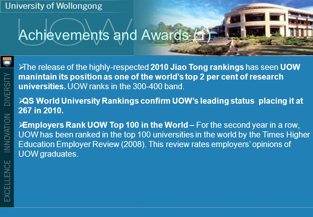 Achievements and Awards (1) The release of the highly-respected 2010 Jiao Tong rankings has seen UOW manintain its position as one of the worlds top 2 per cent of research universities.