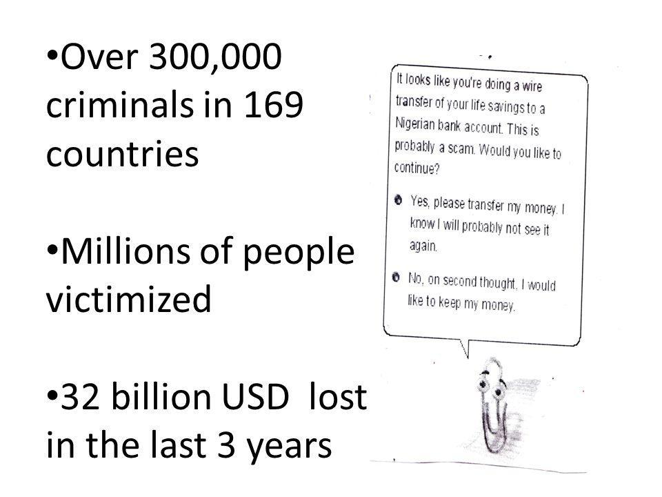Over 300,000 criminals in 169 countries Millions of people victimized 32 billion USD lost in the last 3 years