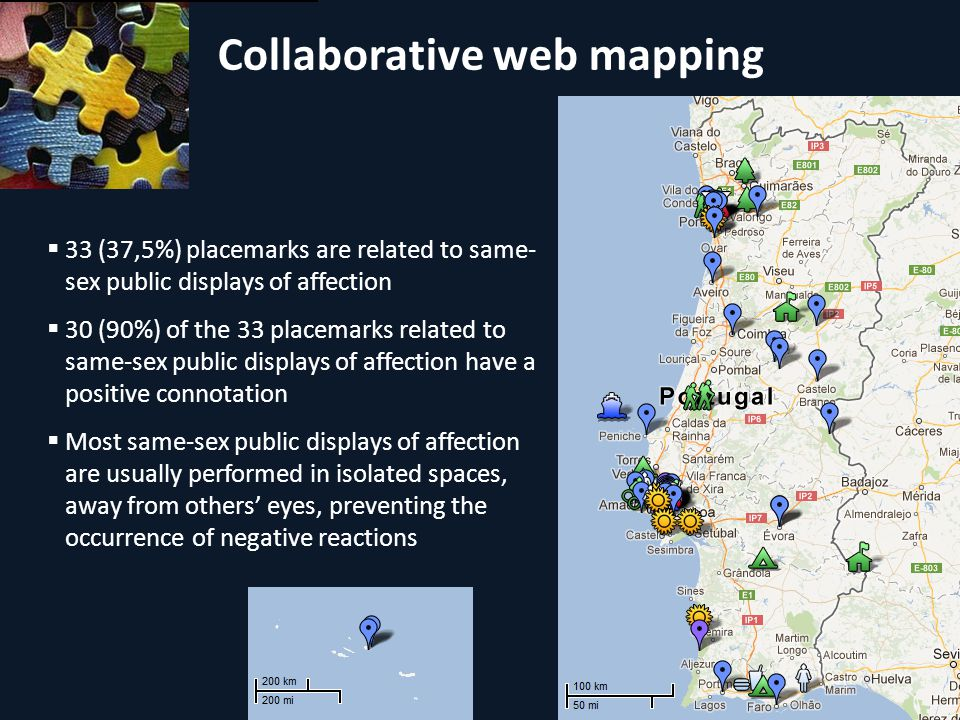 Collaborative web mapping 33 (37,5%) placemarks are related to same- sex public displays of affection 30 (90%) of the 33 placemarks related to same-sex public displays of affection have a positive connotation Most same-sex public displays of affection are usually performed in isolated spaces, away from others eyes, preventing the occurrence of negative reactions