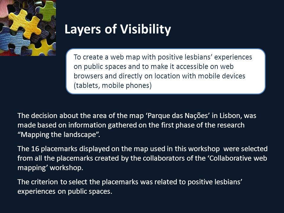 Layers of Visibility The decision about the area of the map Parque das Nações in Lisbon, was made based on information gathered on the first phase of the research Mapping the landscape.