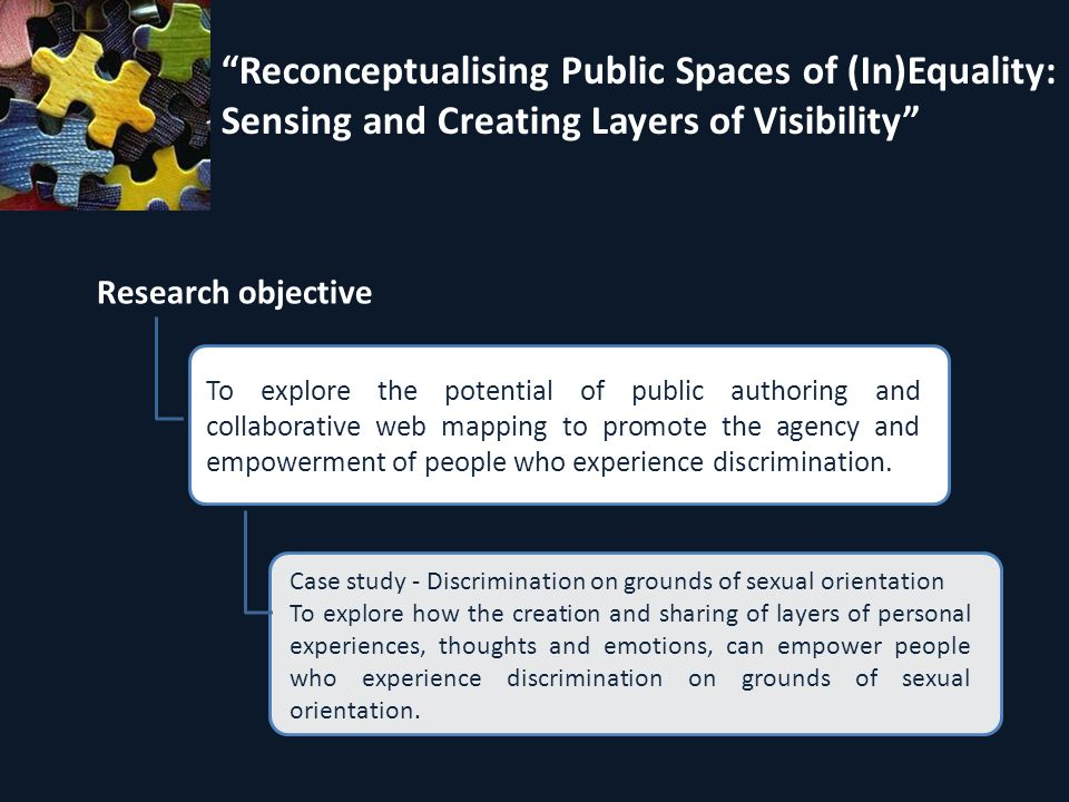 Reconceptualising Public Spaces of (In)Equality: Sensing and Creating Layers of Visibility Research objective Case study - Discrimination on grounds of sexual orientation To explore how the creation and sharing of layers of personal experiences, thoughts and emotions, can empower people who experience discrimination on grounds of sexual orientation.