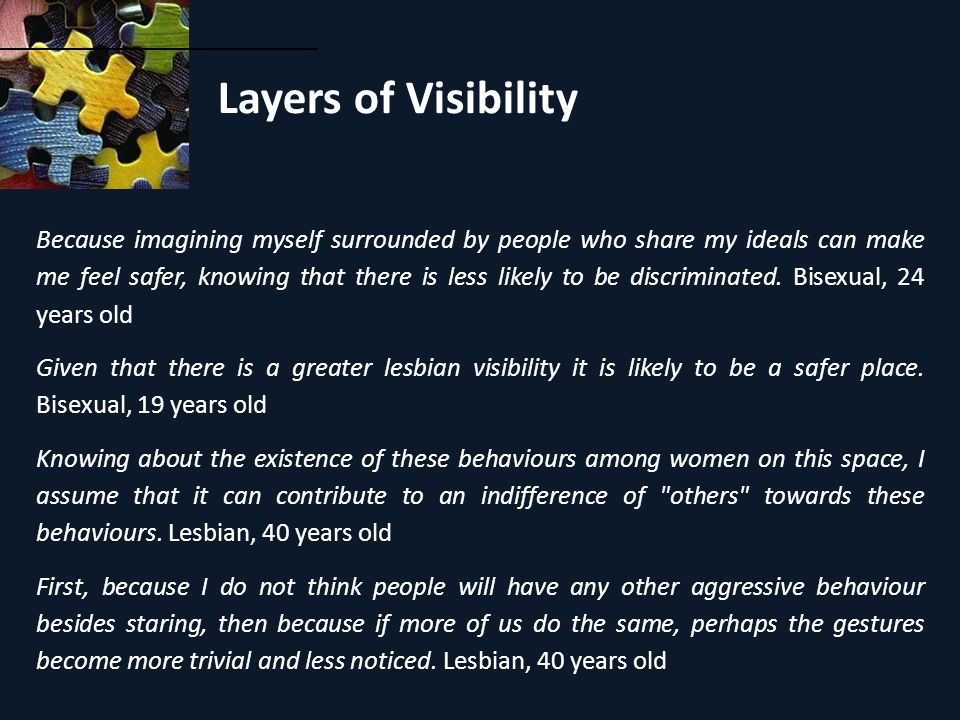 Layers of Visibility Because imagining myself surrounded by people who share my ideals can make me feel safer, knowing that there is less likely to be discriminated.