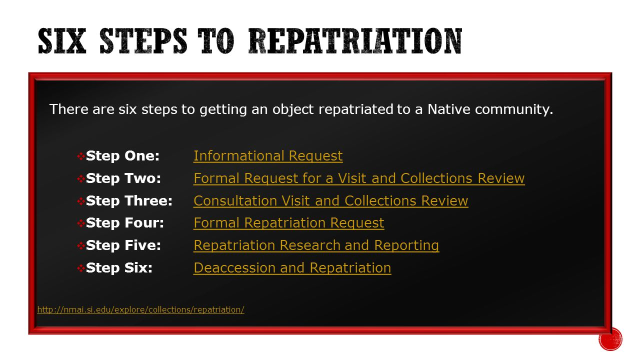 There are six steps to getting an object repatriated to a Native community.