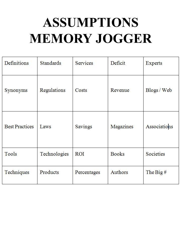 ASSUMPTIONS MEMORY JOGGER