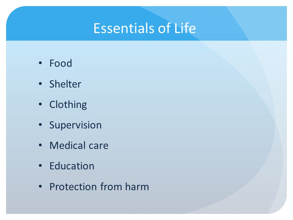 Essentials of Life Food Shelter Clothing Supervision Medical care Education Protection from harm