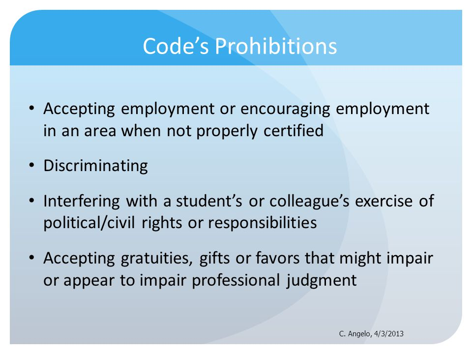 Codes Prohibitions Accepting employment or encouraging employment in an area when not properly certified Discriminating Interfering with a students or