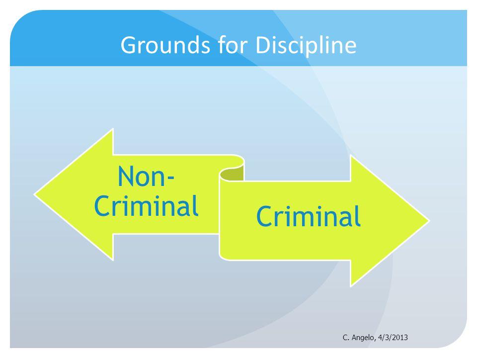 Grounds for Discipline Non- Criminal Criminal C. Angelo, 4/3/2013