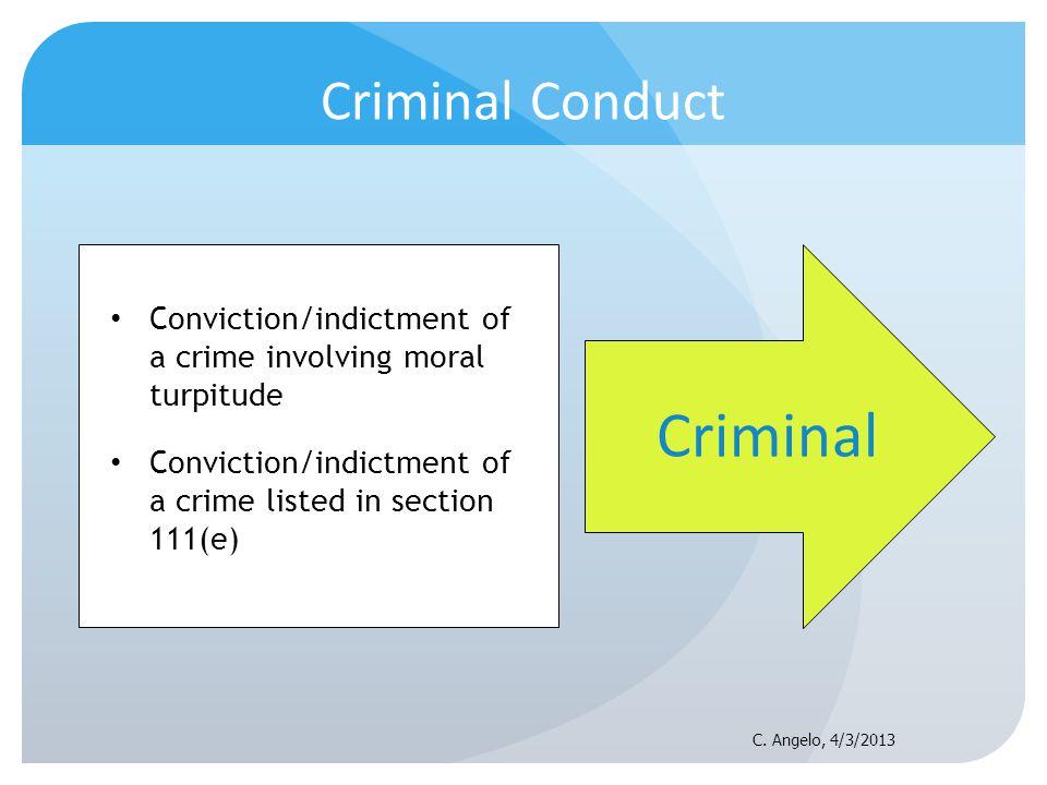 Criminal Conduct Conviction/indictment of a crime involving moral turpitude Conviction/indictment of a crime listed in section 111(e) Criminal C. Ange