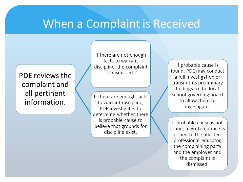 When a Complaint is Received PDE reviews the complaint and all pertinent information. If there are not enough facts to warrant discipline, the complai
