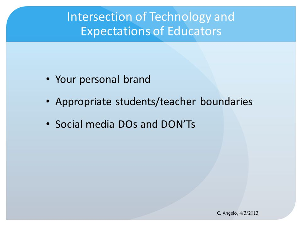 Intersection of Technology and Expectations of Educators Your personal brand Appropriate students/teacher boundaries Social media DOs and DONTs C. Ang