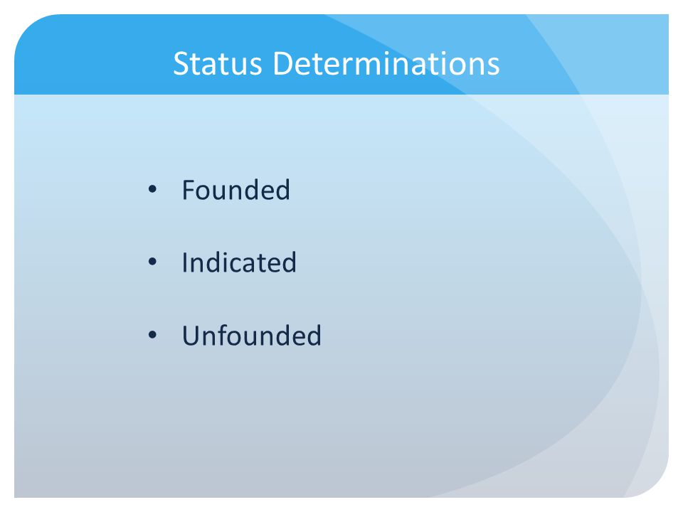 Status Determinations Founded Indicated Unfounded