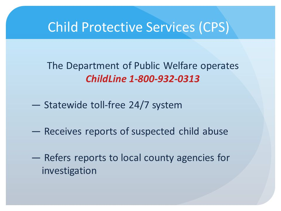 Scenario 2 – Response CPS report or GPS referral.Why.