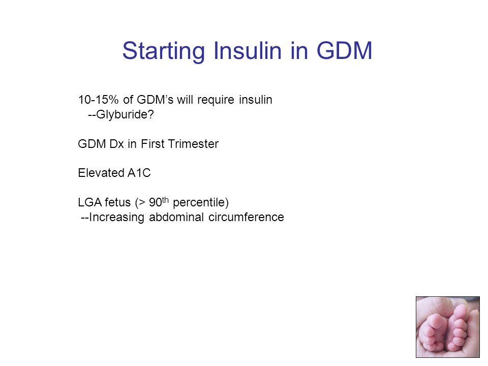 10-15% of GDMs will require insulin --Glyburide.