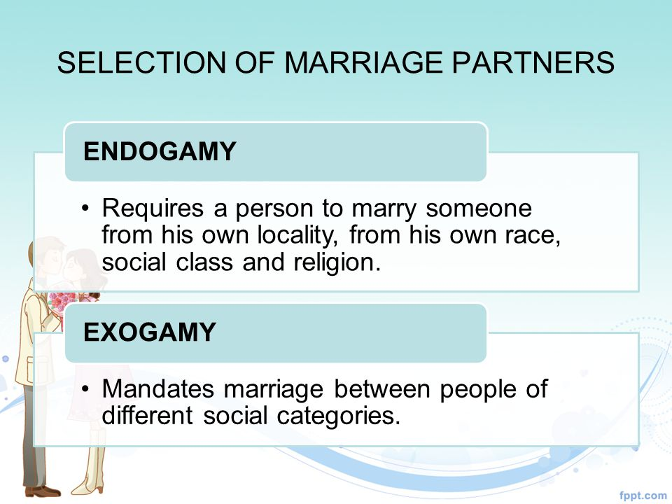 SELECTION OF MARRIAGE PARTNERS Requires a person to marry someone from his own locality, from his own race, social class and religion.