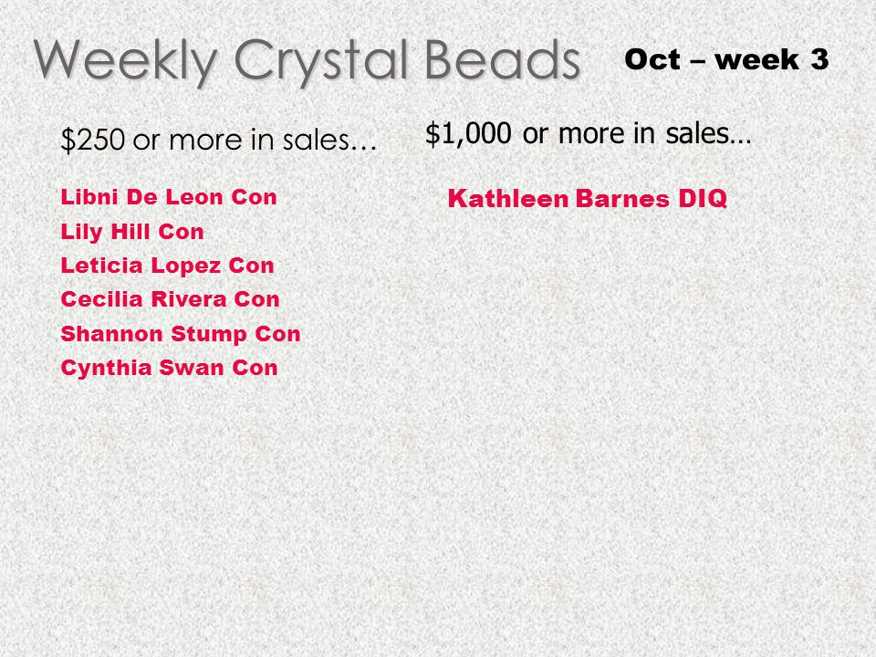 Weekly Crystal Beads Oct – week 3 $250 or more in sales… Libni De Leon Con Lily Hill Con Leticia Lopez Con Cecilia Rivera Con Shannon Stump Con Cynthi