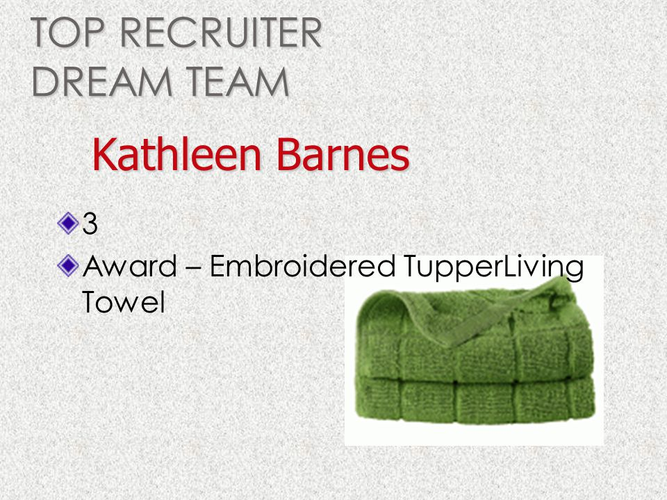 TOP RECRUITER DREAM TEAM 3 Award – Embroidered TupperLiving Towel Kathleen Barnes