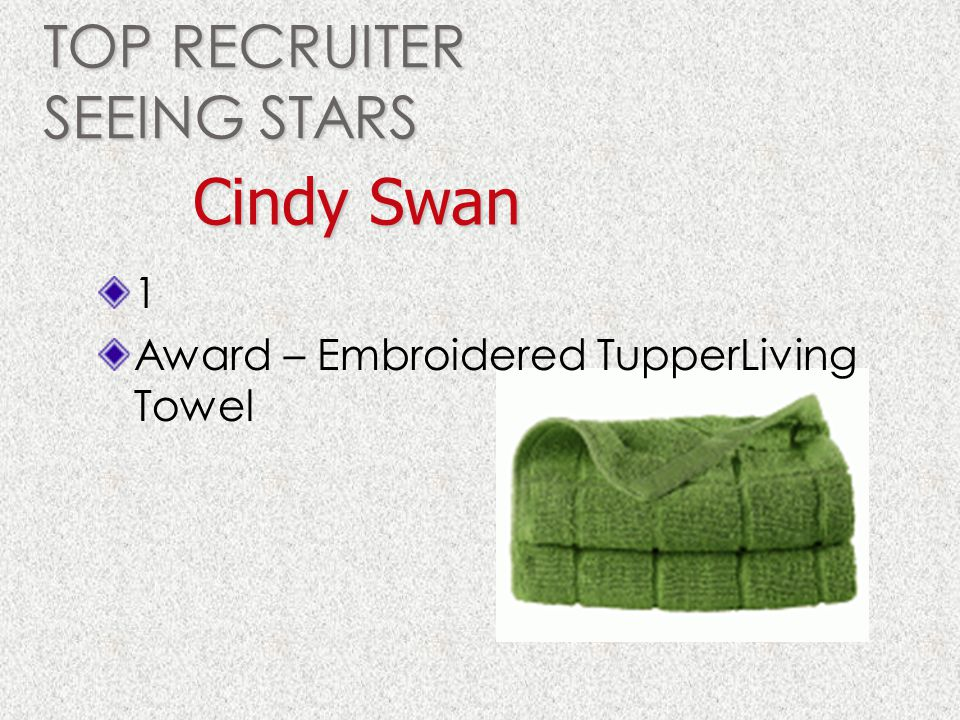 TOP RECRUITER SEEING STARS 1 Award – Embroidered TupperLiving Towel Cindy Swan