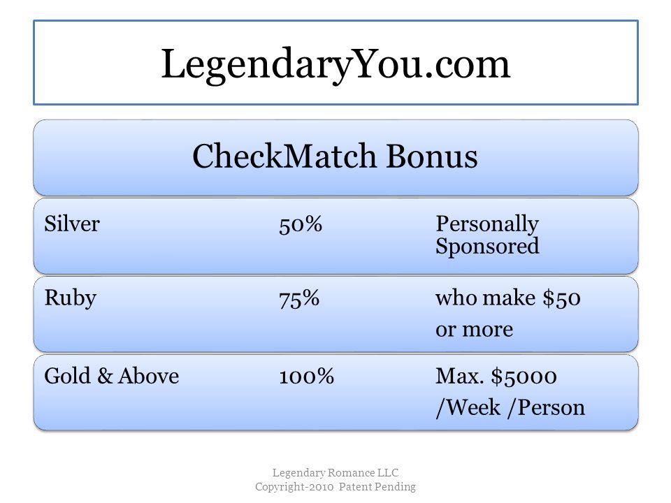 LegendaryYou.com CheckMatch Bonus Silver50%Personally Sponsored Ruby75% who make $50 or more Gold & Above100%Max.