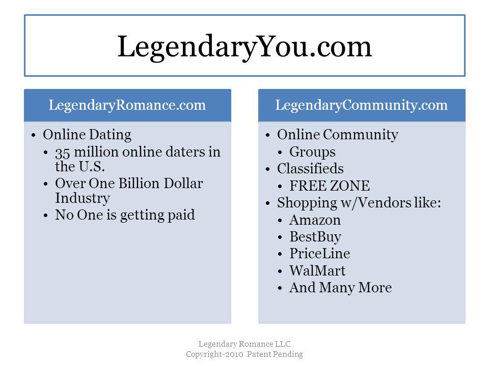 LegendaryYou.com LegendaryRomance.com Online Dating 35 million online daters in the U.S.
