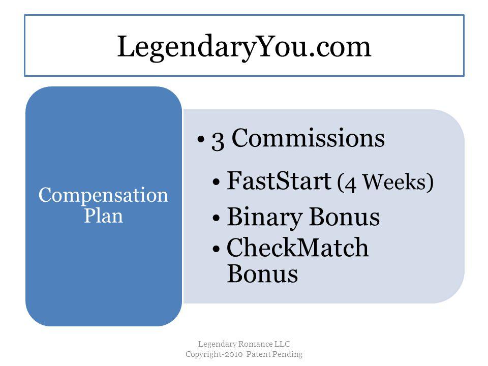 LegendaryYou.com 3 Commissions FastStart (4 Weeks) Binary Bonus CheckMatch Bonus Compensation Plan Legendary Romance LLC Copyright-2010 Patent Pending