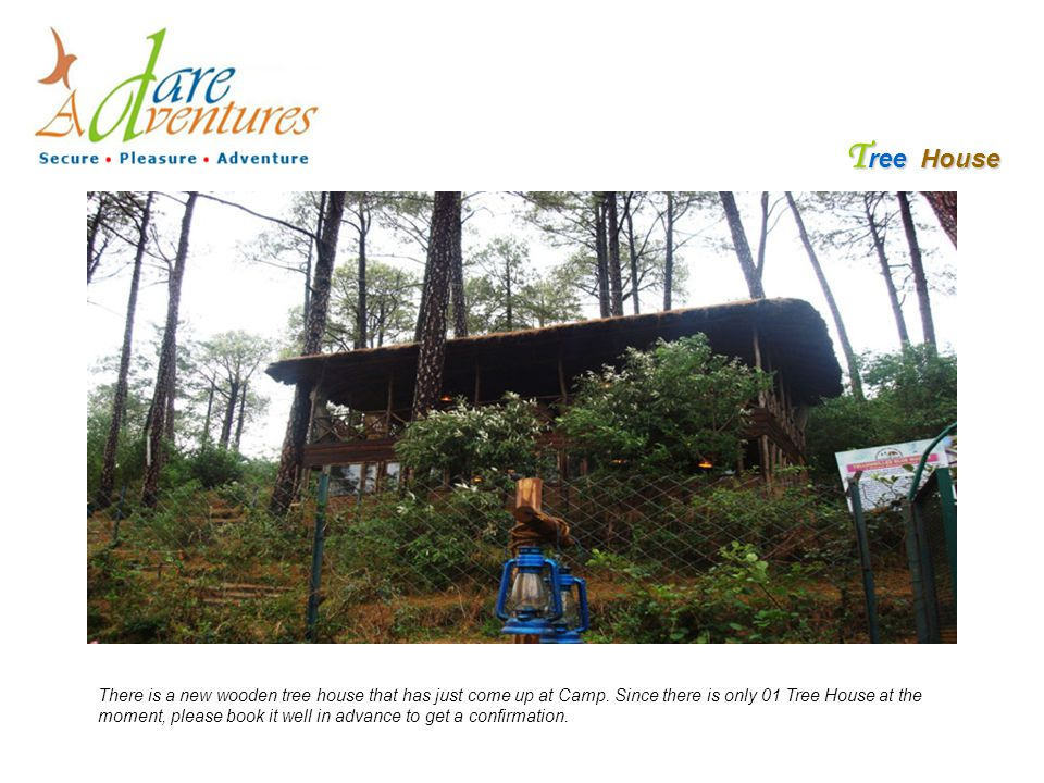T ree House There is a new wooden tree house that has just come up at Camp. Since there is only 01 Tree House at the moment, please book it well in ad