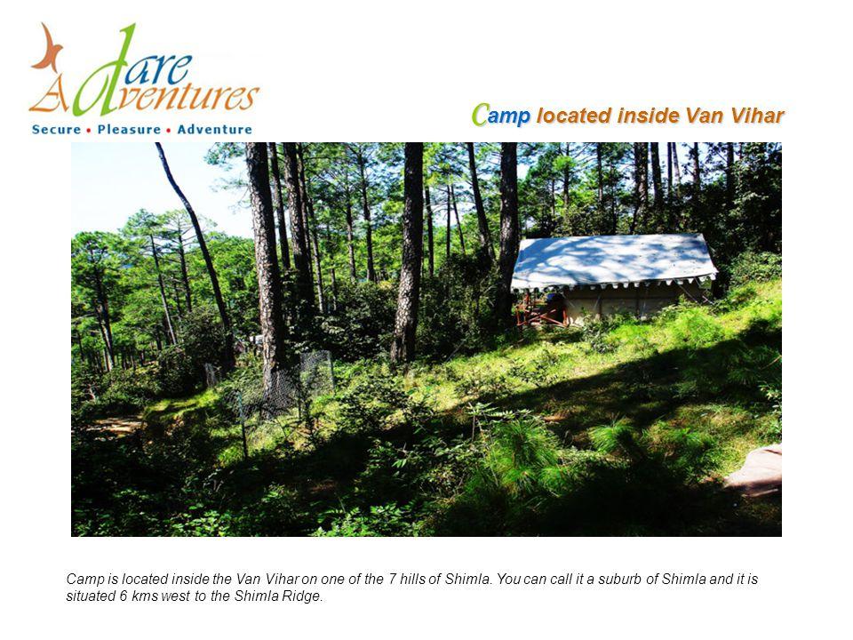 C amp located inside Van Vihar Camp is located inside the Van Vihar on one of the 7 hills of Shimla.