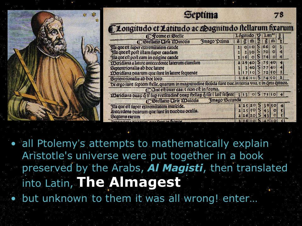 all Ptolemy s attempts to mathematically explain Aristotle's universe were put together in a book preserved by the Arabs, Al Magisti, then translated