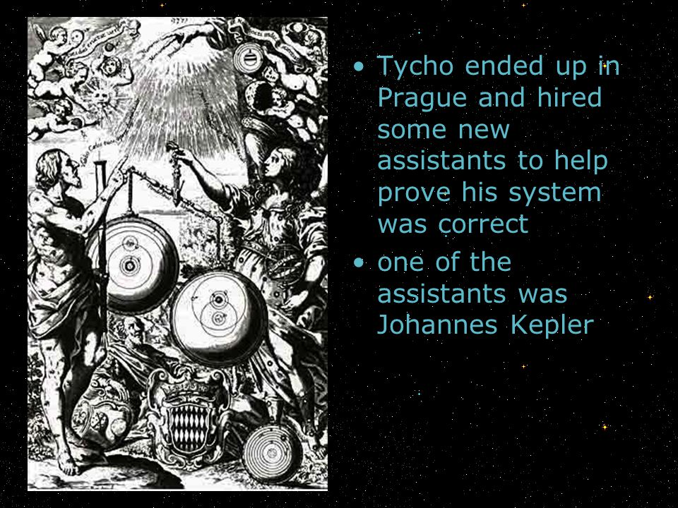 Tycho ended up in Prague and hired some new assistants to help prove his system was correct one of the assistants was Johannes Kepler